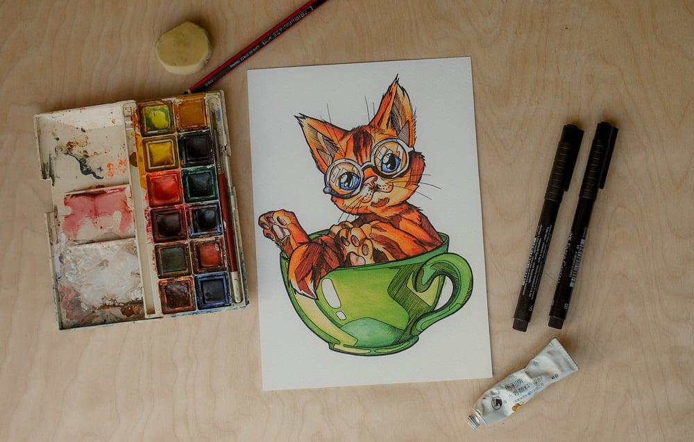 Image of Nerdy Kitty - Art Print