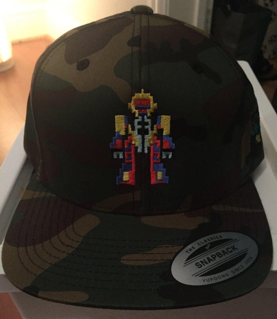 Image of Camo Classic Snap Back - Retro-Robot Design