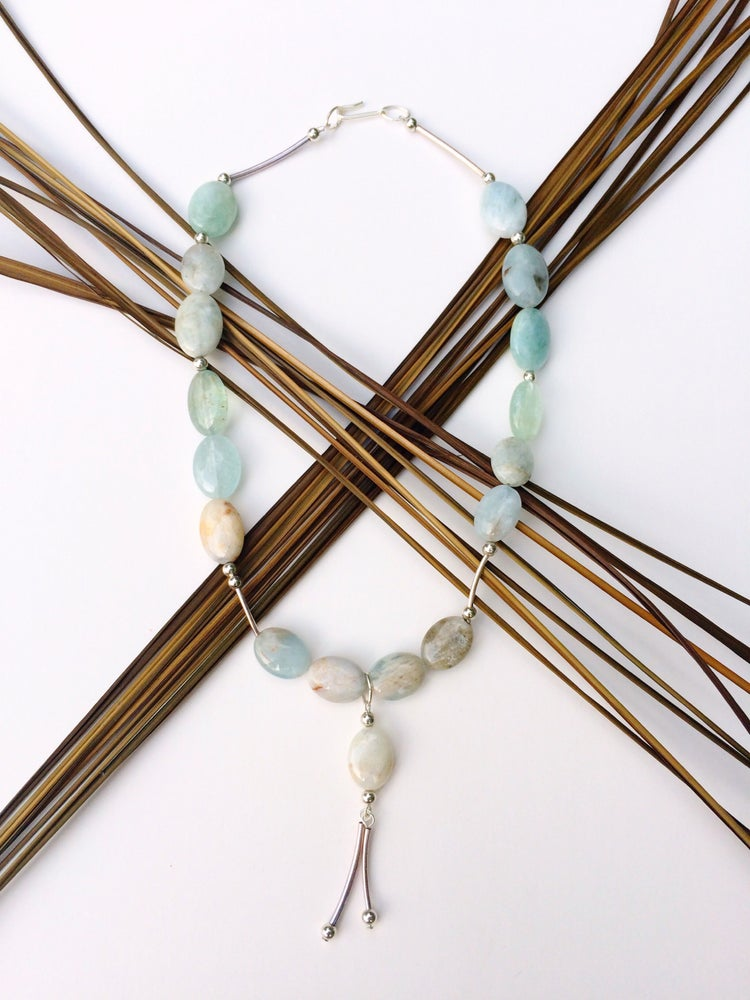 Image of Aqua Glass Bar Necklace