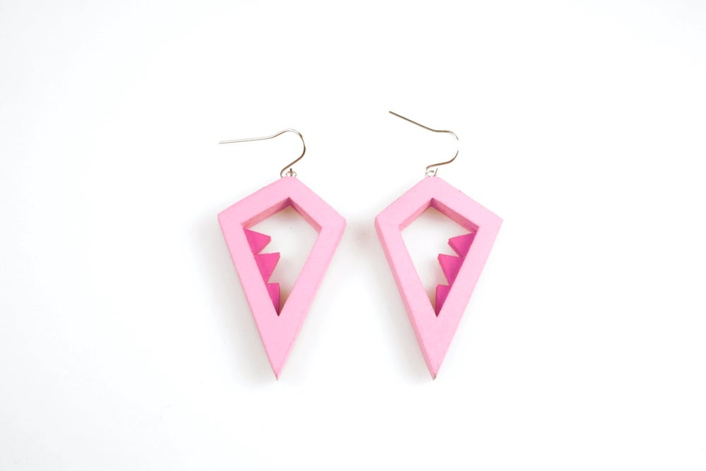 Image of Pink Double Layered Tata Earrings