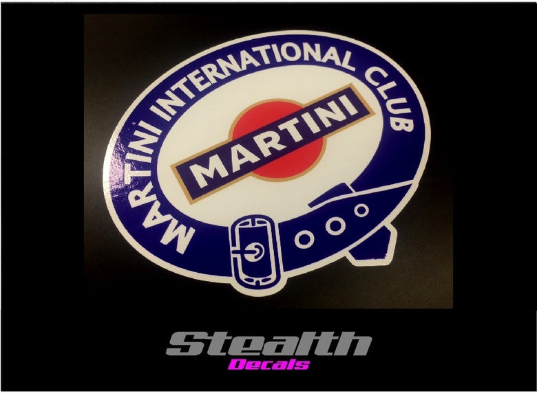 Image of Martini oval vintage style stickers x2