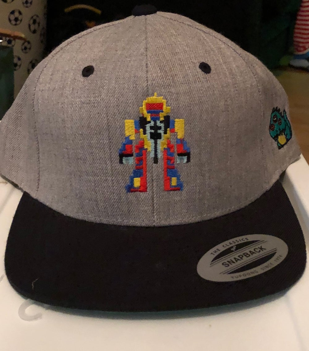 Image of Grey/ Black Classic Snap Back - Retro-Robot Design
