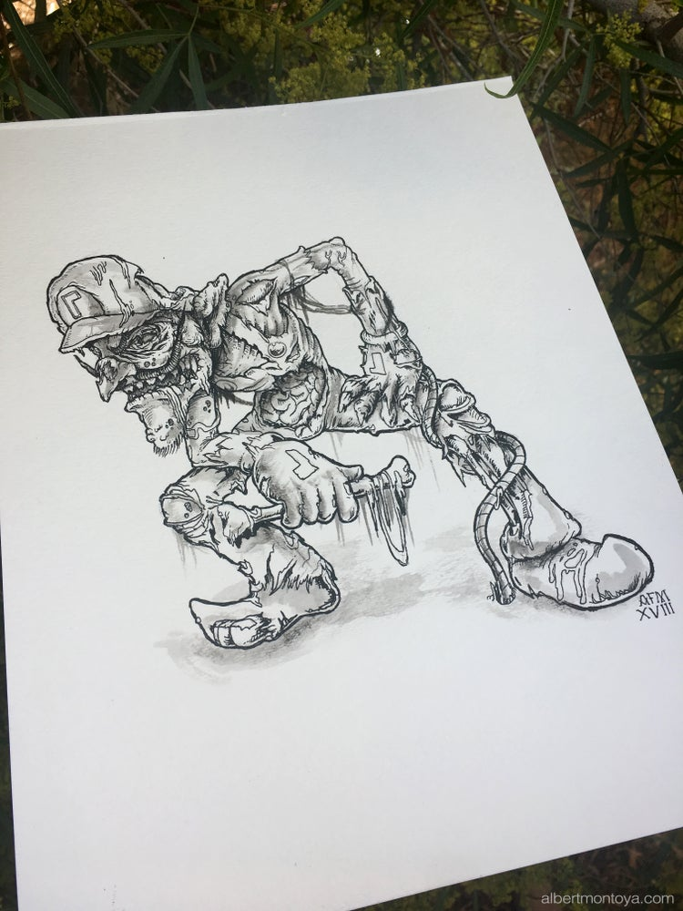 "Image of Original ""Undead Waluigi"" Illustration"