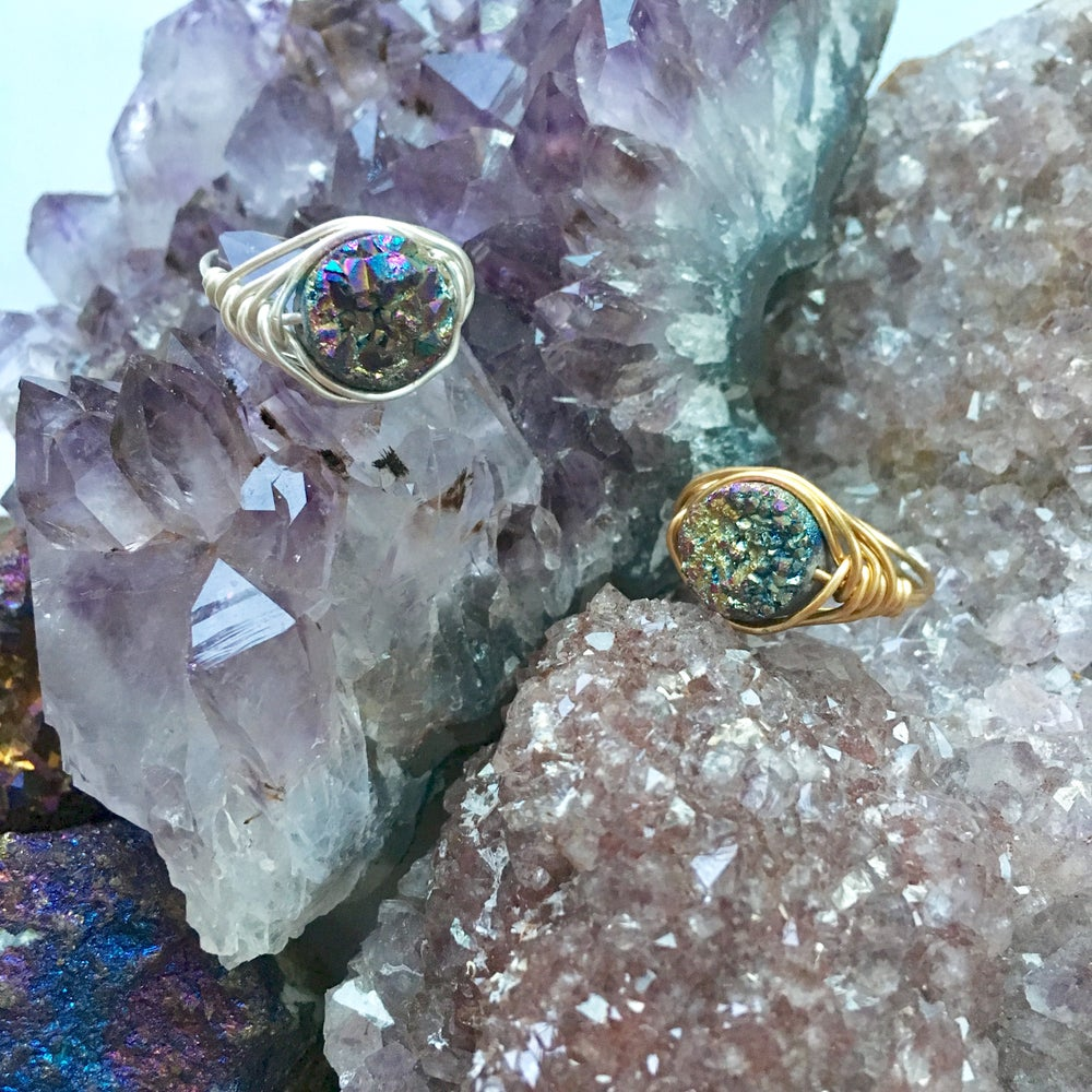 Image of Rainbow Cosmic Ring - Aura Agate Crystal SOLD OUT BACK SOON