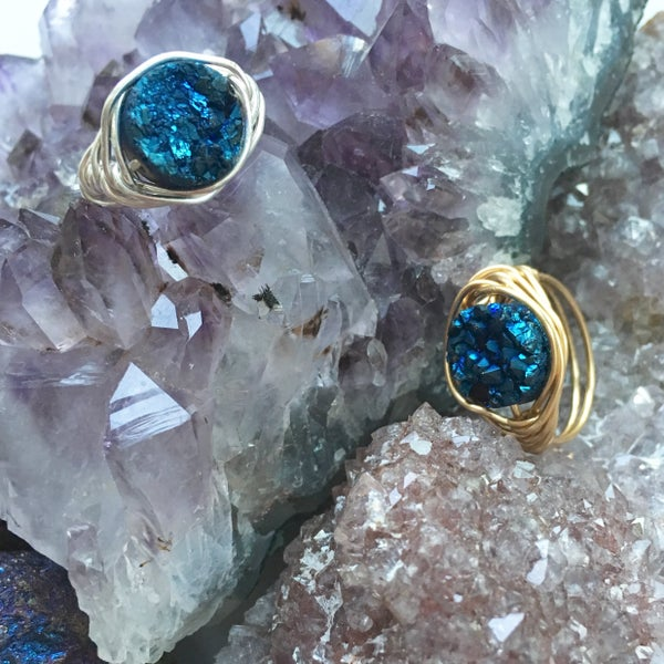 Image of Blue Cosmic Ring - Aura Agate Crystal