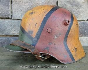 Image of Replica WWI German M-1916 Helmet & Liner. Camouflage Pattern.