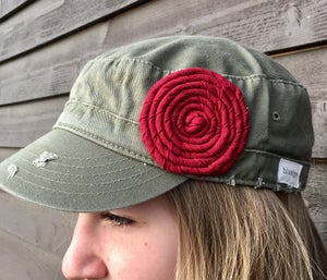 Image of Olive Hat/Deep Red Fabric Flower