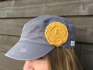 Image of Light Grey Hat/Golden Yellow Flower