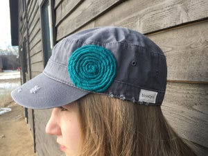 Image of Light Grey Hat/Turquoise Flower