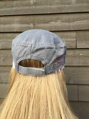 Image of Dark Grey/Green Flower Hat