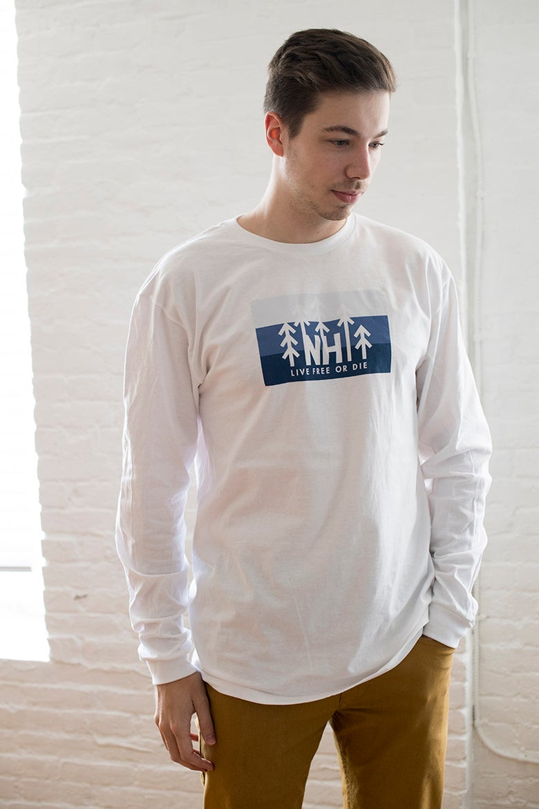 Image of Unisex White NH Tree Logo Long Sleeve