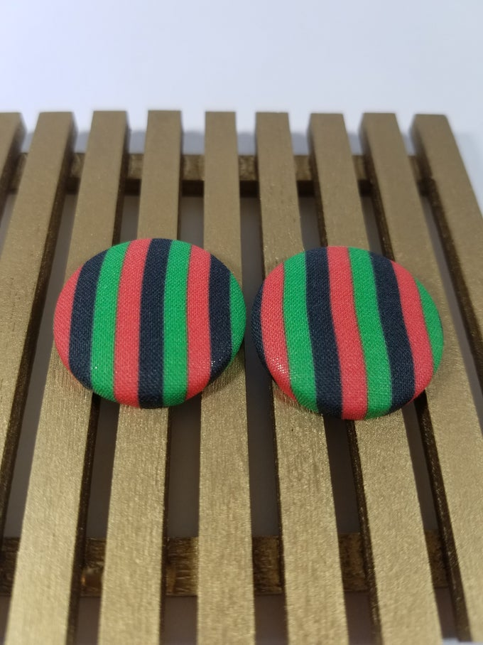Image of African Flag Colored Button Earrings