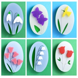Image of Months and Meanings Flower brooches (January to June)