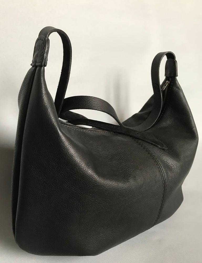 Image of Black Leather Banana Bag BA01
