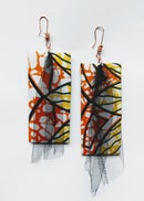 "Image 1 of ""Triple Dipped"" Ankara, Leatherette & Tulle Earrings"