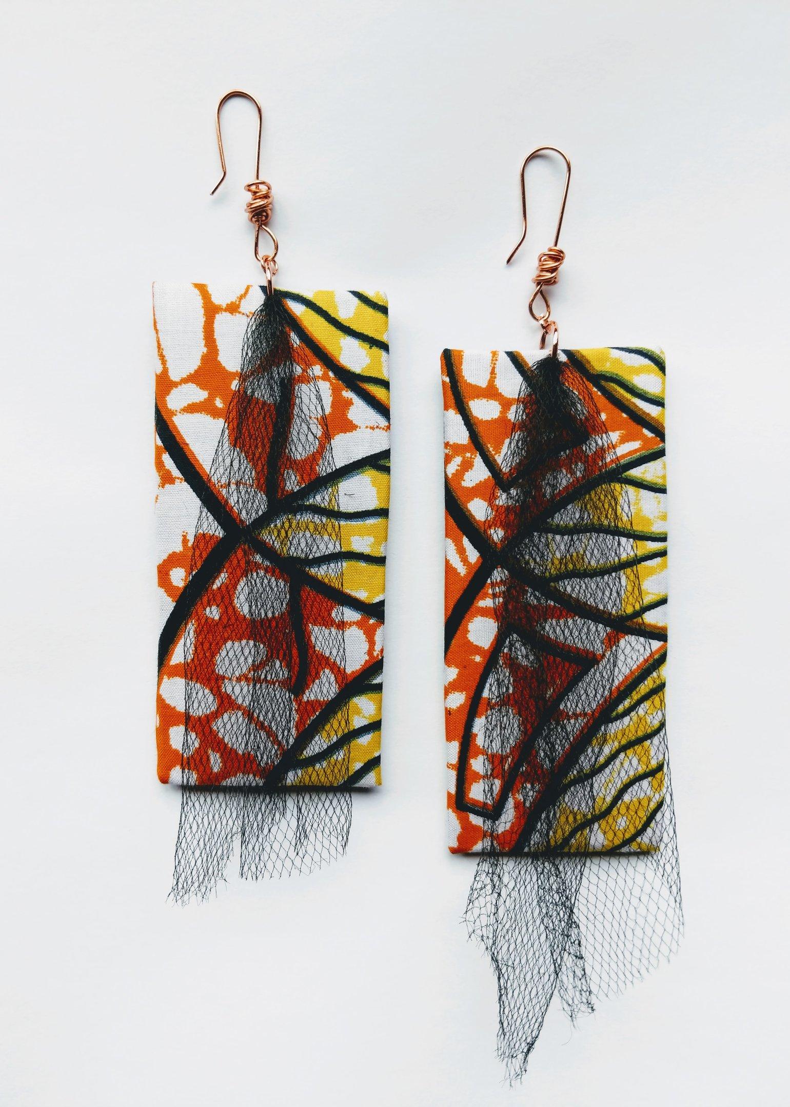"Image of ""Triple Dipped"" Ankara, Leatherette & Tulle Earrings"