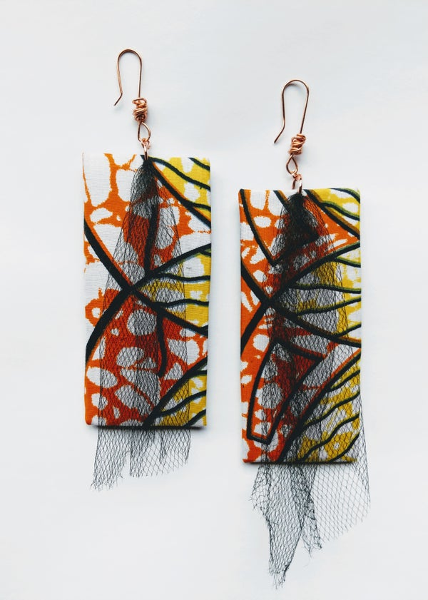 "Image of ""Triple Dipped"" Ankara, Leatherette & Tulle Earrings"