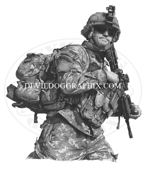 "Image of ""ON THE MOVE"" U.S. SOLDIER DRAWING PRINT"