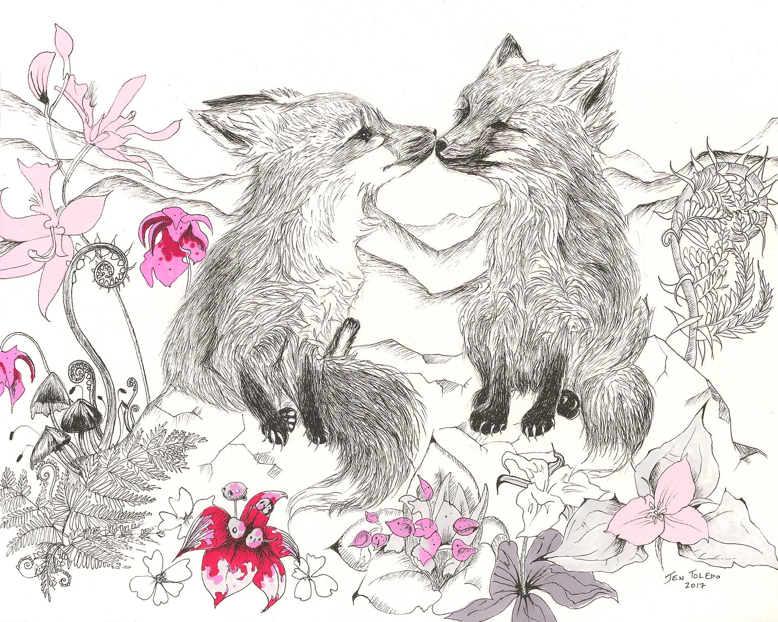 Image of Kissing Red Fox Cubs (Print)