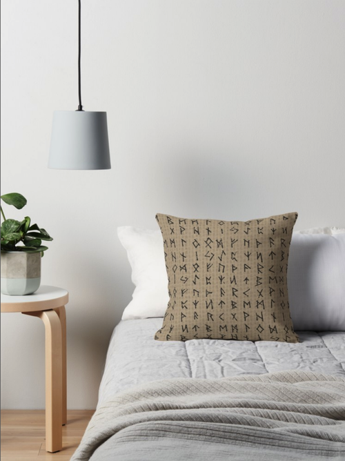 Image of FUTHARK RUNE PILLOW TAN