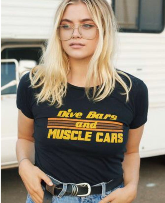 Image of Dive bars and muscle cars vintage inspired tee