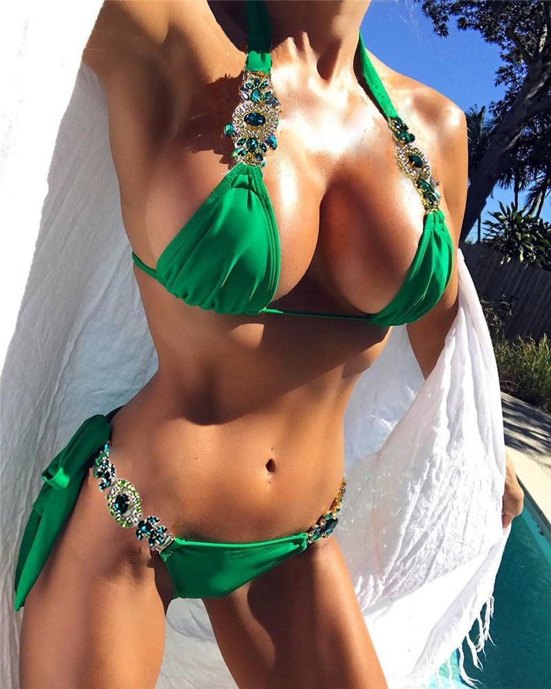 Image of Forkian - Bikini vert à strass