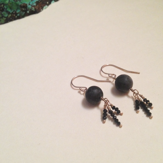 Image of The Moon Matte Black Labradorite Black Spinel Garnet Sterling Silver Gemstone Earrings | Handmade
