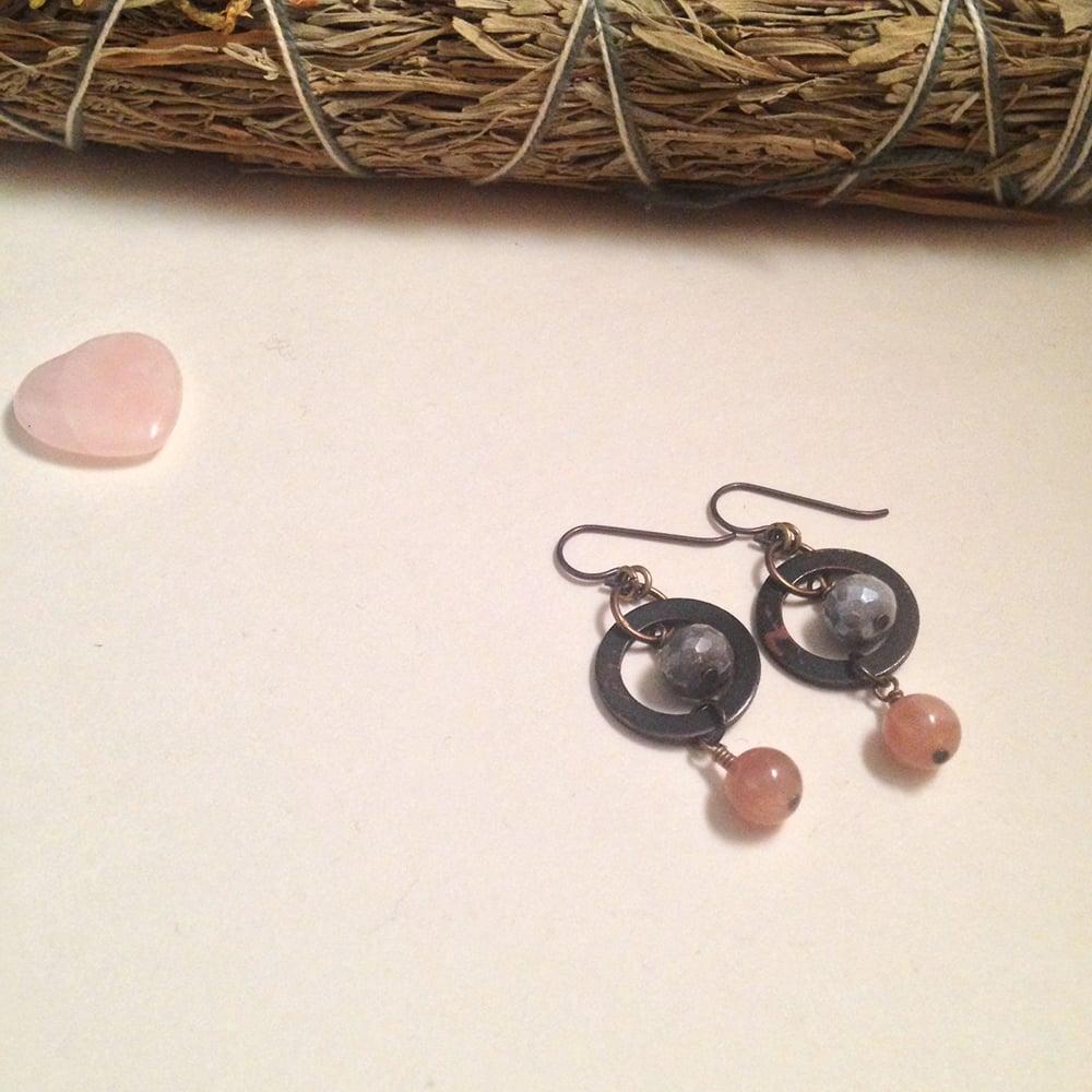 Image of Queen of Wands Grey Moonstone Pink Moonstone Gemstone Copper Niobium Earrings | Handmade Nickel-Free