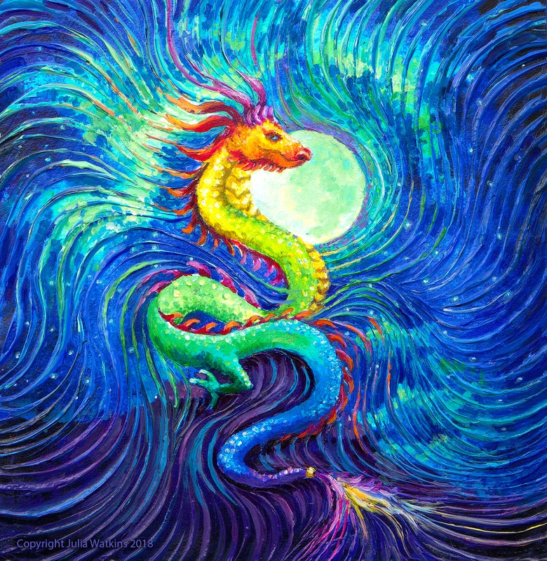 Image of Dragon's Moon Energy Painting Giclee Print