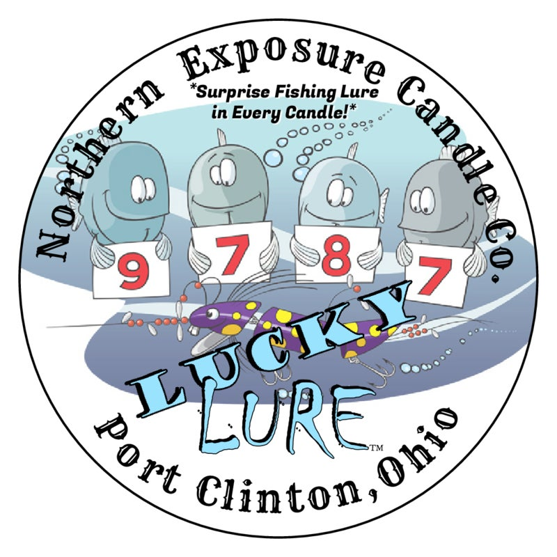 """Image of """"Lucky -Lure"""" Soy Candle with Surprise Walleye lure inside. This is our Large 12oz candle 80 hour!"""