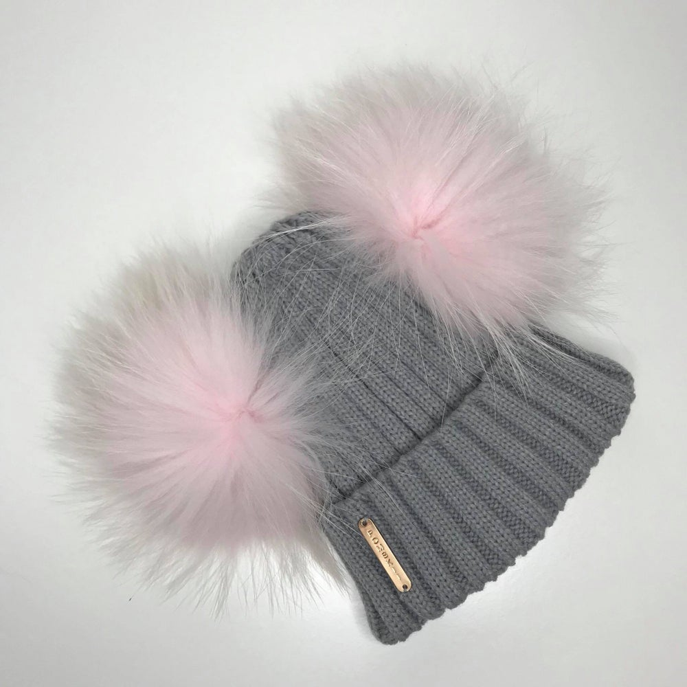 Image of Pale Grey Double Pomskii Hat