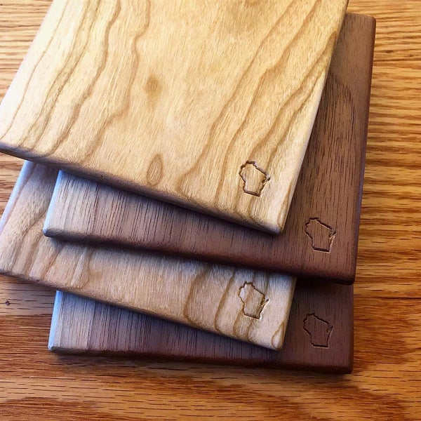 Image of Cherry and walnut coaster pack