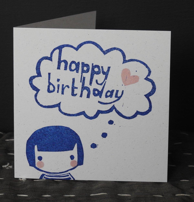 Image of 'Introvert Kokeshi' Happy Birthday - single card