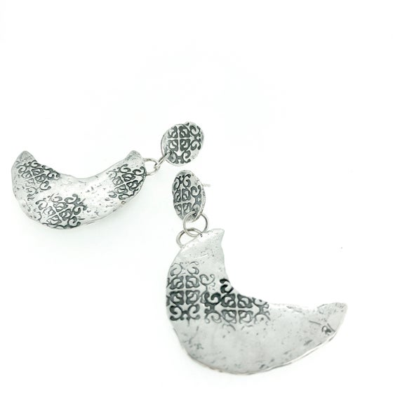 Image of crescent moon earrings . recycled sterling silver