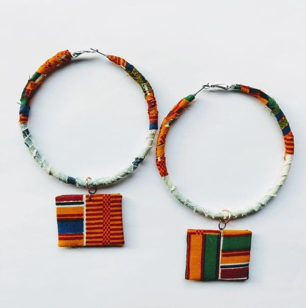 "Image of ""Tribal"" Ankara, Leather & Denim Earrings"