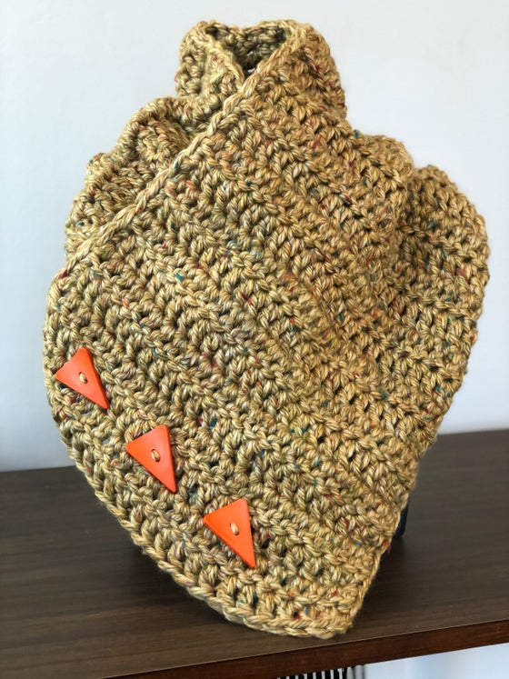 Image of Golden tweed w/ orange triangle buttons
