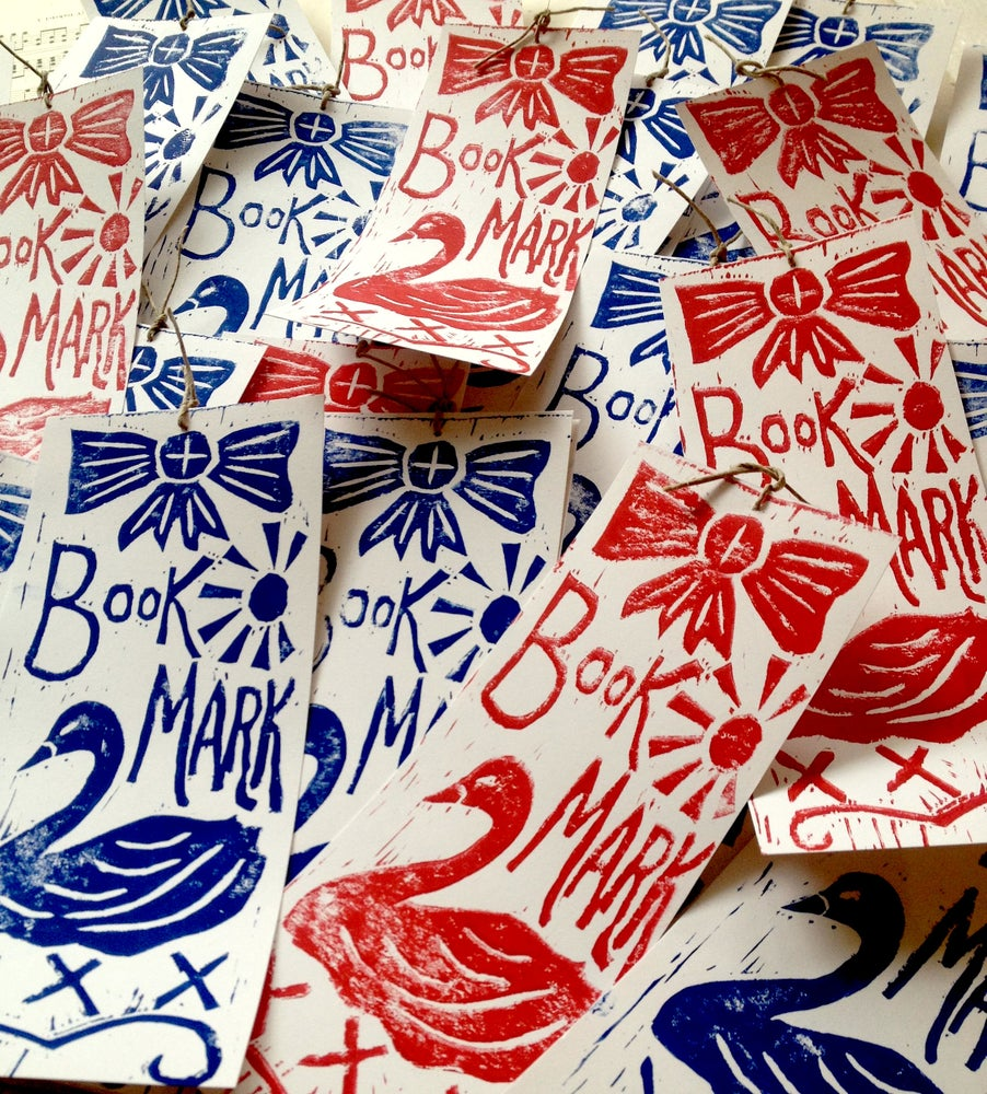Image of Hand printed lino cut book marks