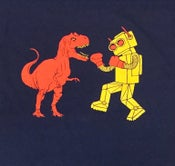 Image of Dinosaur Vs. Robot Cotton T-Shirt - Unisex SM, MD, LG, XL