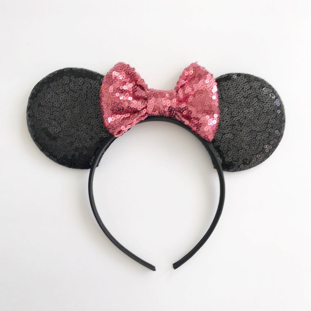 Image of Black sequin mouse ears with peony sequin bow