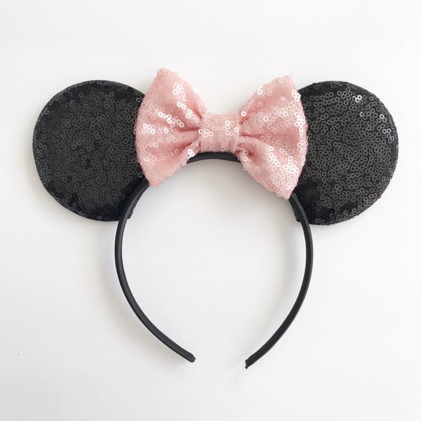 Image of Black sequin mouse ears with blush sequin bow