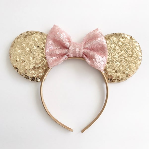 Image of Gold sequin mouse ears with blush sequin bow