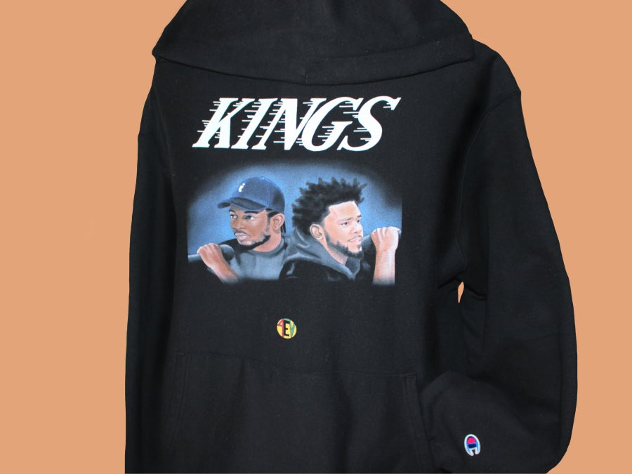 "Image of Kendrick/Cole ""KINGS"" (CHAMPION) [ 4EV HOODIE] (BLACK)"