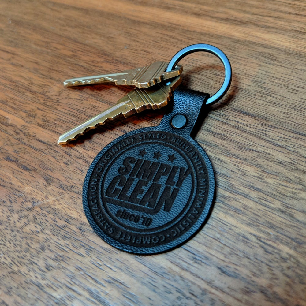 Image of Simply Clean Black Radical Leather Keychain