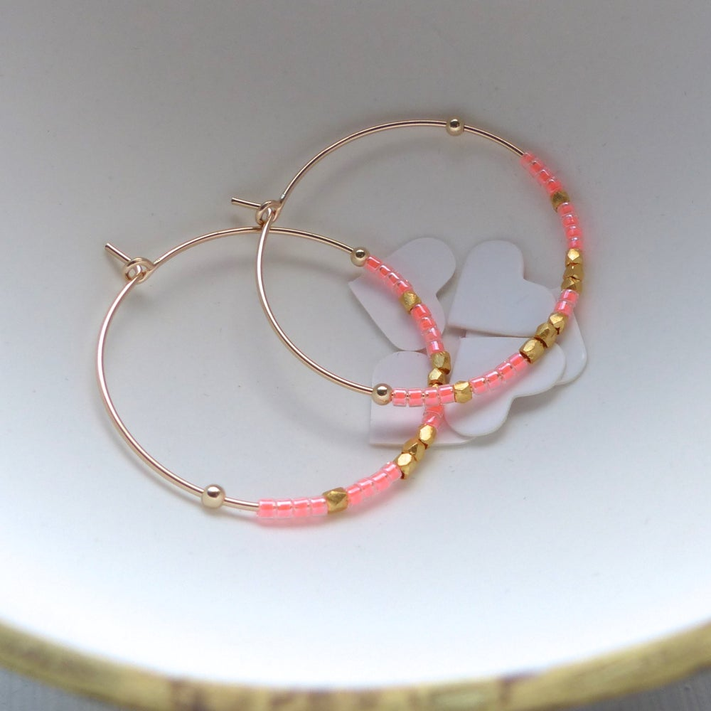 Image of 30mm Fair Trade And Neon Delica Bead Hoop Range