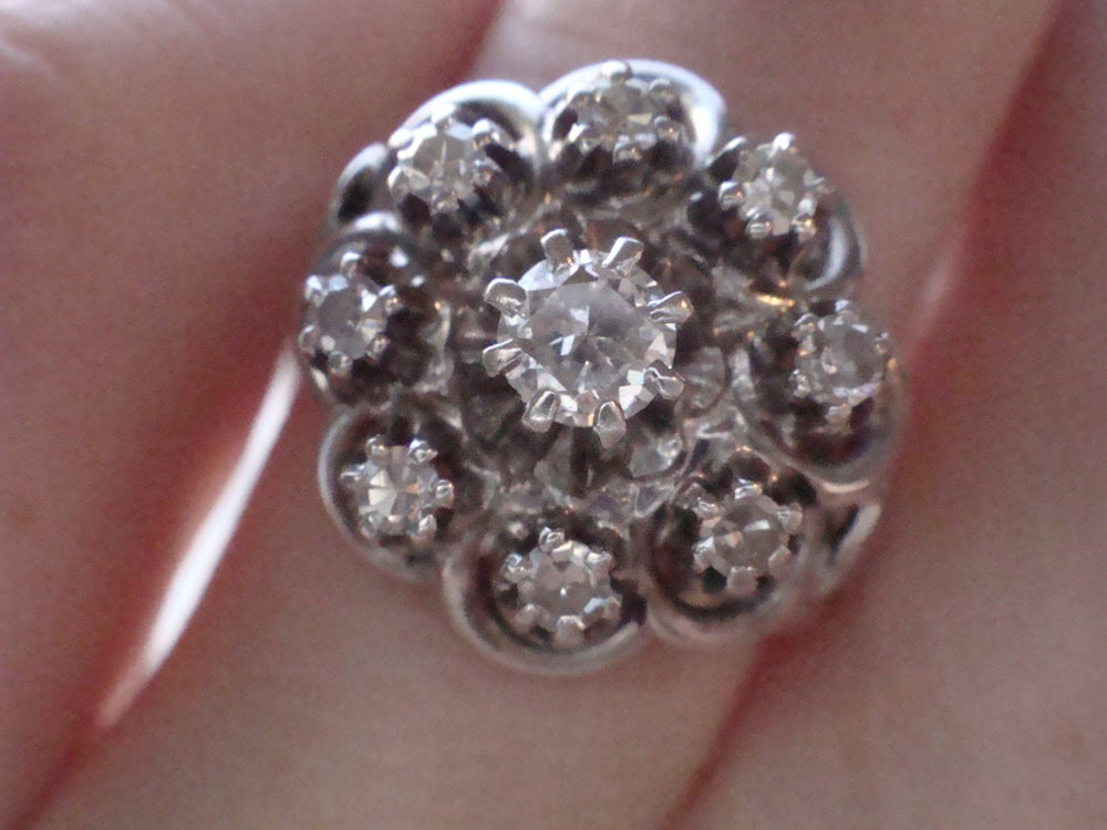Image of STUNNING FRENCH EDWARDIAN ART DECO 18CT WHITE GOLD OLD CUT DIAMOND CLUSTER RING