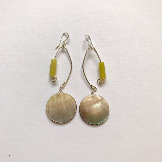 Image of Fish Lure Inspired Abalone and Jade Earrings