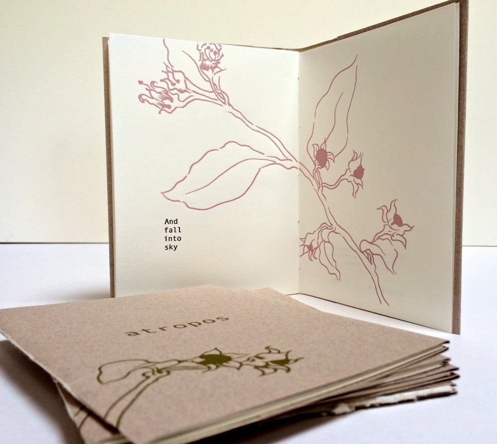Image of 'Atropos' letterpress, hand-bound pamphlet book