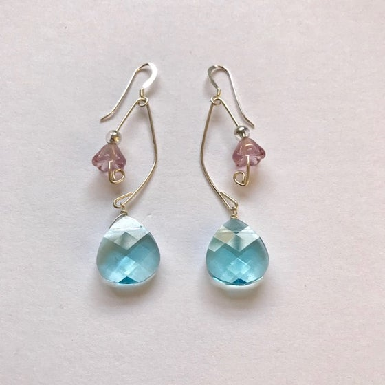 Image of Aquamarine and Lavender Fish Lure Inspired Earrings