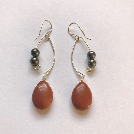 Image of Red Aventurine and Black Pearl Fish Lure Inspired Earrings
