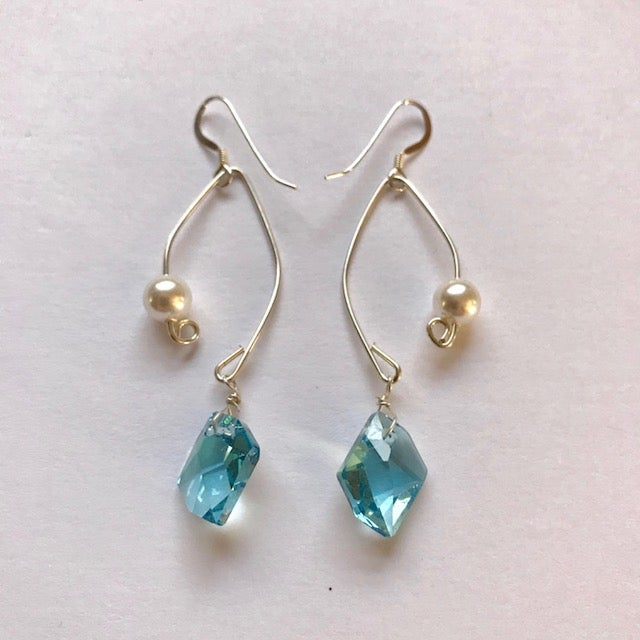 Image of Aquamarine Crystal and Pearl Fish Lure Inspired Earrings
